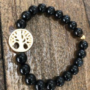 Black Onyx Bead Bracelet w/ Tree of Life